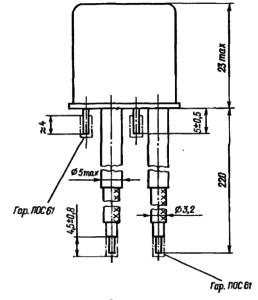 Конструктивные данные реле РЭА12. Исполнение ЯЛ4.552.001