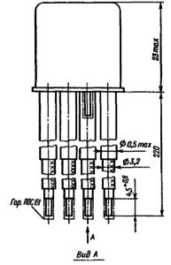 Конструктивные данные реле РЭА12. Исполнение ЯЛ4.552.001-02