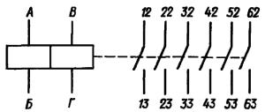 Принципиальная электрическая схема реле РЭС84 с шестью контактами