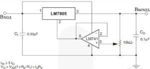 Рис. 13. Стабилизатор с регулировкой выхода (от 7 В до 30 В)
