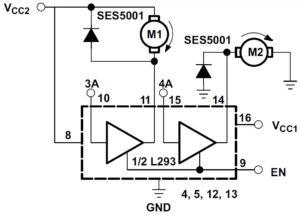 Необходимо произвести подключение к земле и источнику напряжения (питания) Рис. 9. Схема управления двигателем постоянного тока в одном направлении (вращение вправо или влево)