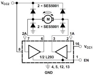 Рис. 10. Схема двунаправленного управления двигателем постоянного тока (реверс)
