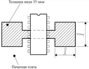 Рис. 14. Пример области меди печатной платы (используется в качестве теплоотвода)
