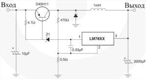 Рис. 19. Переключающий стабилизатор. (транзисторный) стабилизатор с импульсным регулированием