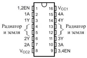 Внешние вид и назначение контактов ИС L293, L293D в 16-выводном корпусе PDIP и NE (вид сверху)