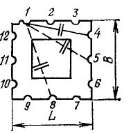 Конденсатор К31П-6 (1-12 - пазы микроплаты)