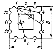 Конденсатор КМК-1. 1-12 - пазы микроплаты