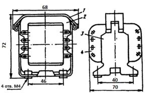 Конструкция броневого трансформатора ТА11 -127/220-50. 1 - лента; 2 - магнитопровод; 3 - обойма; 4 - катушка.