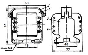 Конструкция броневого трансформатора ТА28 -127/220-50. 1 - лента; 2 - магнитопровод; 3 - обойма; 4 - катушка.