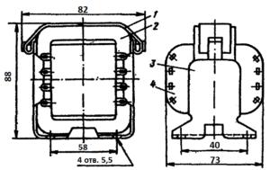 Конструкция броневого трансформатора ТА55 -127/220-50. 1 - лента; 2 - магнитопровод; 3 - обойма; 4 - катушка.