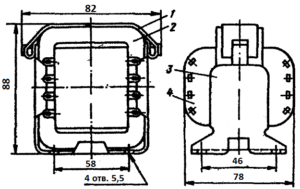 Конструкция броневого трансформатора ТА88 -127/220-50. 1 - лента; 2 - магнитопровод; 3 - обойма; 4 - катушка.