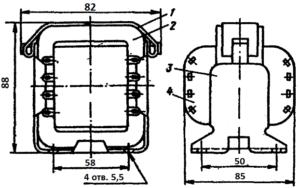 Конструкция броневого трансформатора ТА127 -127/220-50. 1 - лента; 2 - магнитопровод; 3 - обойма; 4 - катушка.