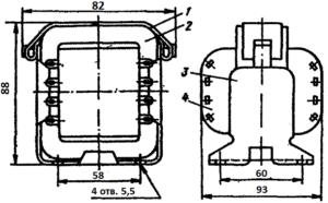 Конструкция броневого трансформатора ТА163 -127/220-50. 1 - лента; 2 - магнитопровод; 3 - обойма; 4 - катушка.