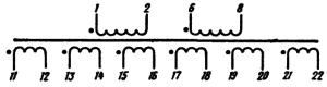 Рис. 4. Электрическая принципиальная схема анодного трансформатора ТА181 - 220-50.