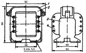 Конструкция броневого трансформатора ТА174 -127/220-50. 1 - лента; 2 - магнитопровод; 3 - обойма; 4 - катушка.