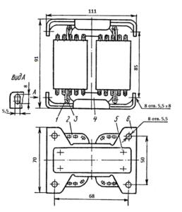 Рис. 1. Конструкция броневого трансформатора ТА181 -127/220-50. 1 - лента; 2 - катушка; 3 - шпилька; 4 - магнитопровод; 5 -винт; 6 - скоба.