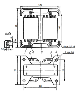 Рис. 1. Конструкция броневого трансформатора ТА196 -127/220-50. 1 - лента; 2 - катушка; 3 - шпилька; 4 - магнитопровод; 5 -винт; 6 - скоба.