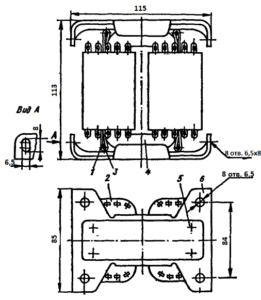 Рис. 1. Конструкция броневого трансформатора ТА249 -127/220-50. 1 - лента; 2 - катушка; 3 - шпилька; 4 - магнитопровод; 5 -винт; 6 - скоба.