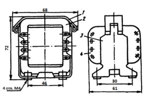 Рис1. Конструкция броневого трансформатора ТН12 -127/220-50. 1 - лента; 2 - магнитопровод; 3 - обойма; 4 - катушка.