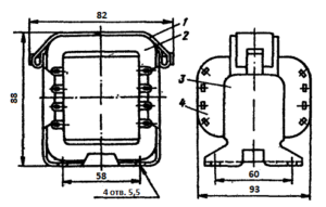 Рис1. Конструкция броневого трансформатора ТН11 -127/220-50. 1 - лента; 2 - магнитопровод; 3 - обойма; 4 - катушка.