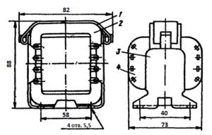 Рис1. Конструкция броневого трансформатора ТН7 -127/220-50. 1 - лента; 2 - магнитопровод; 3 - обойма; 4 - катушка.