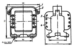 Рис.1. Конструкция стержневого трансформатора ТН35 -127/220-50. 1 - лента; 2 - магнитопровод; 3 - обойма; 4 - катушка.