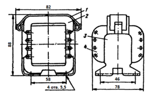 Рис 1. Конструкция стержневого трансформатора ТН23 -127/220-50. 1 - лента; 2 - магнитопровод; 3 - обойма; 4 - катушка.
