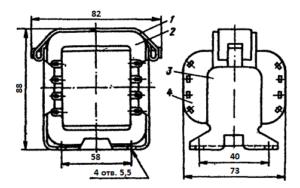 Рис 1. Конструкция стержневого трансформатора ТН39 -127/220-50. 1 - лента; 2 - магнитопровод; 3 - обойма; 4 - катушка.