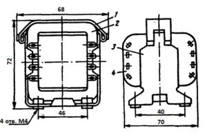 Рис.1. Конструкция стержневого трансформатора ТН31 -127/220-50. 1 - лента; 2 - магнитопровод; 3 - обойма; 4 - катушка.