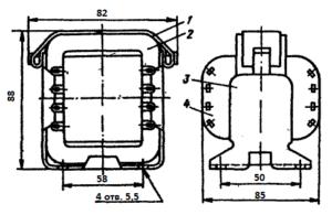 Рис.1. Конструкция стержневого трансформатора ТН49 -127/220-50. 1 - лента; 2 - магнитопровод; 3 - обойма; 4 - катушка.