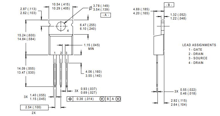 Размеры корпуса (TO-220AB) в мм(дюйм) и распиновка. 1- затвор, 2 - сток, 3 - исток, 4 - сток